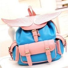 A258 new leisure fashion and personality sweet lady leather backpack angel wings Pure color Students bag buckles multi-function(China (Mainland))