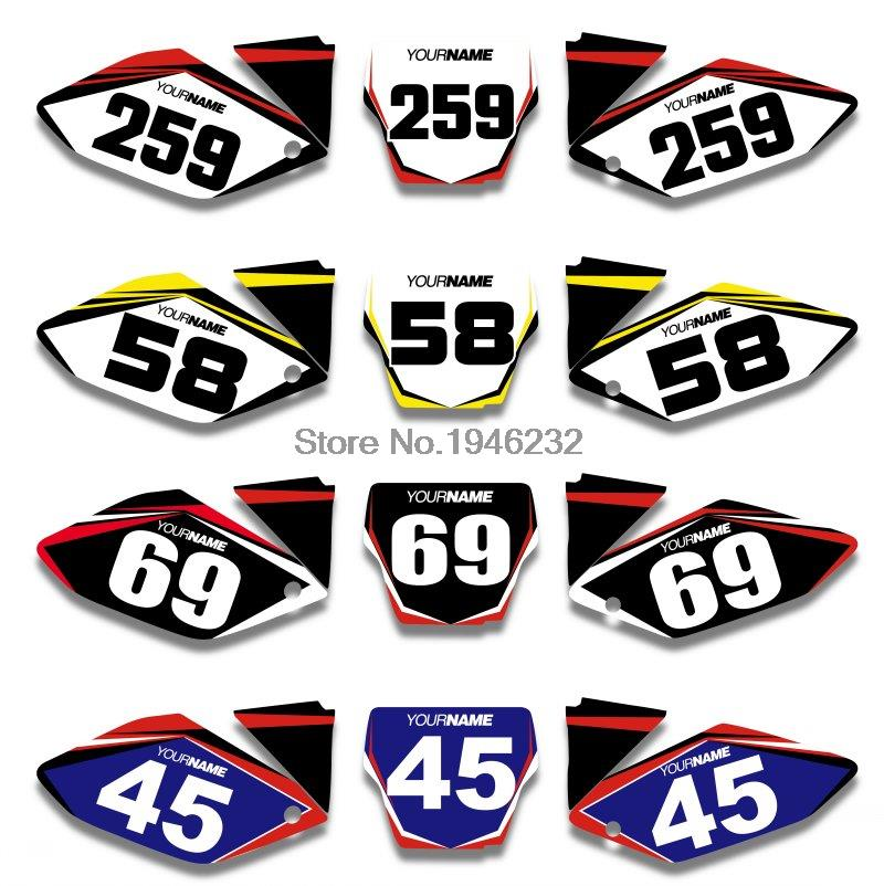 Custom Number Plate Background Graphics Decals & Stickers HONDA CRF250 CRF250R 2004 2005