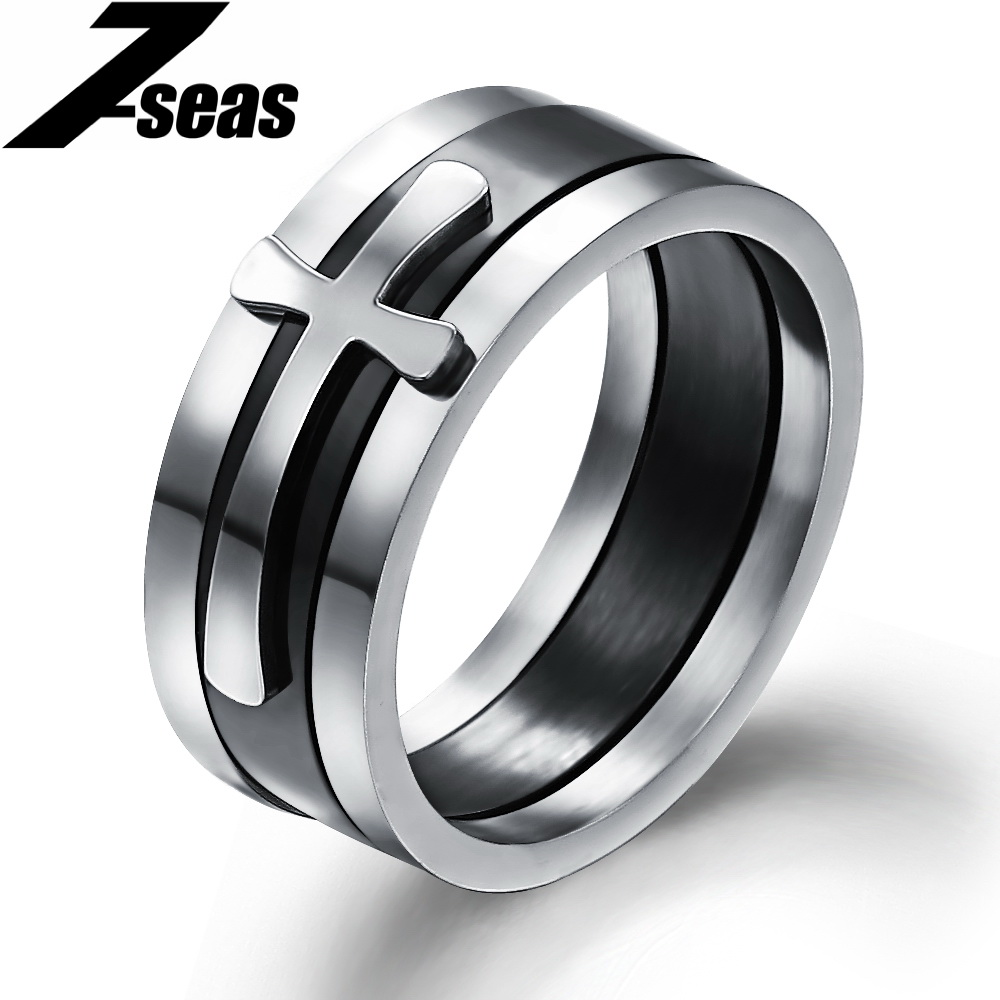 Rock Punk Stainless Steel 3 1 Cross Rings Cool Man Jewelry Accessories Best Valentines Gift Male,GJ054 - Fashion 7-seas store