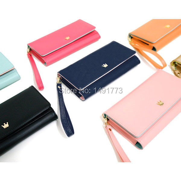 Luxury Organizer brand Wallets for money, cards,phones PU leather lady Purses seven colors available with handle(China (Mainland))