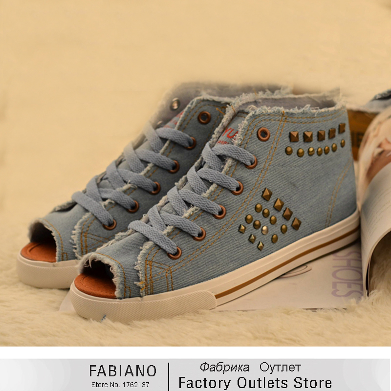 Flat shoes high top canvas shoes female spring and summer for Fish head shoes