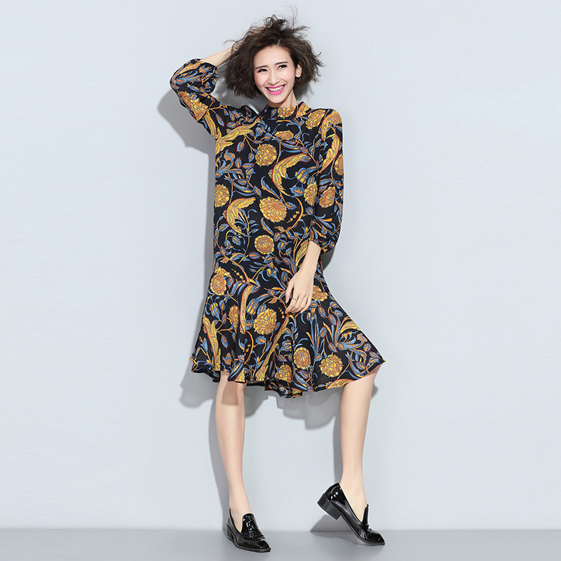 2016 Spring Maternity Dresses Fashion Plus Size Chiffon Print Long Sleeve Pregnant Dress For Pregnancy Women Knee-Length Clothes<br><br>Aliexpress