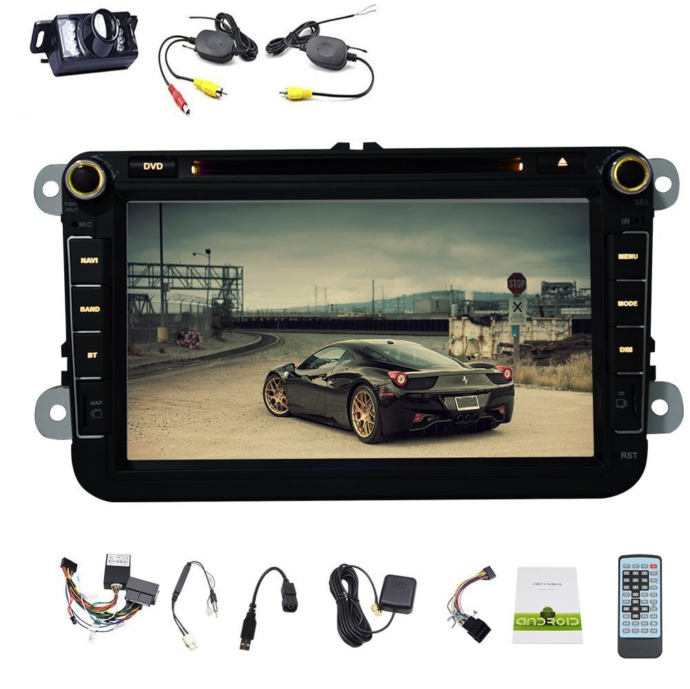 Android 4.4 Car DVD Player for VW/GOLF/BORA/PASSAT/CC Car Radio Stereo Support Bluetooth OBD2 Canbus+Free Wireless Camera()