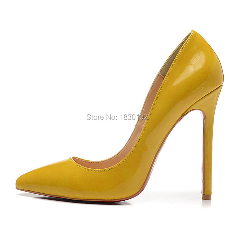 fashion yellow pointed toe high heel shoes cheap patent