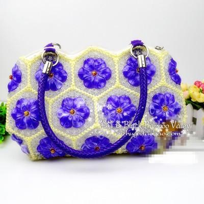 Beaded bags portable 32 hexagonal tablets lotus leaf bag petal beads manual lady bags(China (Mainland))
