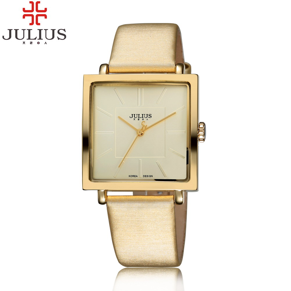 2016 JULIUS Brand Quartz Watches Women Clock Gold Square Leather Bracelet Casual Fashion Watch Ladies reloj mujer montre femme(China (Mainland))
