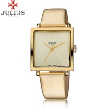 2016 JULIUS Quartz Brand Lady Watches Women Luxury Gold Square Leather Dress Casual Fasshion watch relojes mujer montre femme