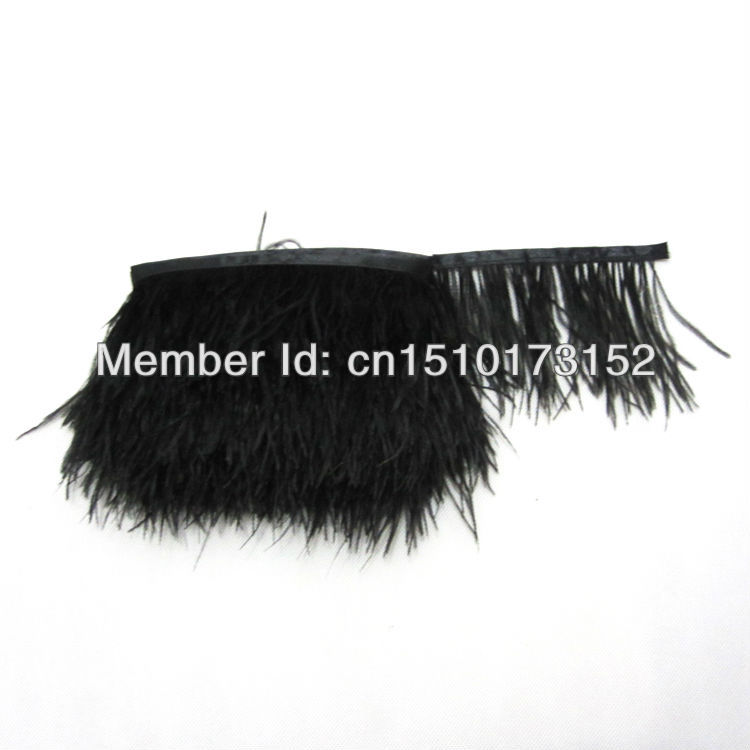 1Yard Pretty Black Ostrich Feathers Ribbon 3-4inchs/8-11cm Trims Dress/Craft BB8-2 - TiTi Feather Market store