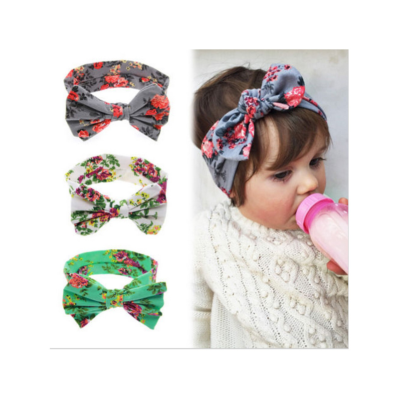 2015 Pure Cotton New Bown Baby Children Girl Infant  Flower Bow  Headband Hair Band  Accessories  Knitte Knot  Headwear w--206