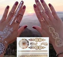 gold tattoo sex products necklace bracelets tatoo metal temporary tattoo women flash metalic fake gold silver