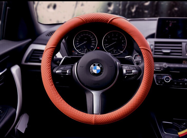Hot style High quality goods imported leather steering wheel covers automotive supplies of the four seasons microfiber leather(China (Mainland))