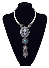 vintage silver crystal leaf tassel goddess badge necklace women boho blue turquoise stone bead hollow flower necklaces pendants(China (Mainland))