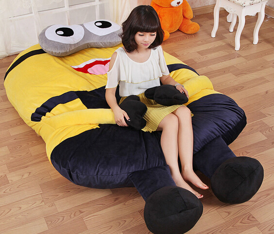 large size cartoon minion toys giant stuffed animals 3d minions plush toy mattress lazy bed in. Black Bedroom Furniture Sets. Home Design Ideas