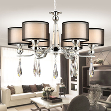Europe Style Fabric Modern Crystal Chandeliers Diameter 72cm Dimmable 6 Head Lustres De Cristal Chandeliers Free Shipping(China (Mainland))