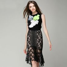 High quality 2015 new summer runway brand fashion flowers appliques patchwork short designer knitted shirt women's top spy3597(China (Mainland))
