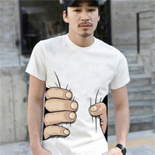 New 2015 Brand Men 3D T Shirt Short Sleeve Cotton T-shirt For Men Famous Breathable O Neck Tops Tees Funny Men Clothing