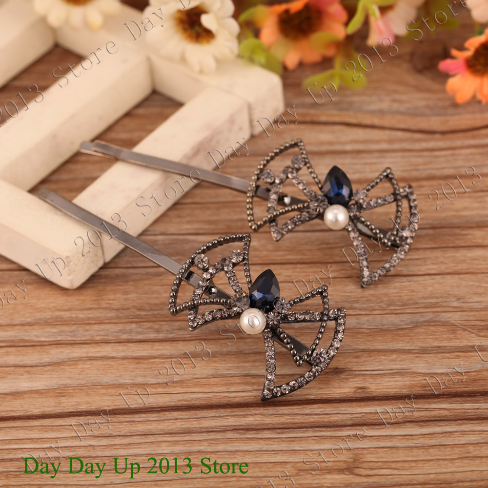2015 New Exclusive Hollow Bow Design Rhinestones Pearl Elegant Women hair Clip Long 9CM top quality Head Clip head piece LTP015(China (Mainland))