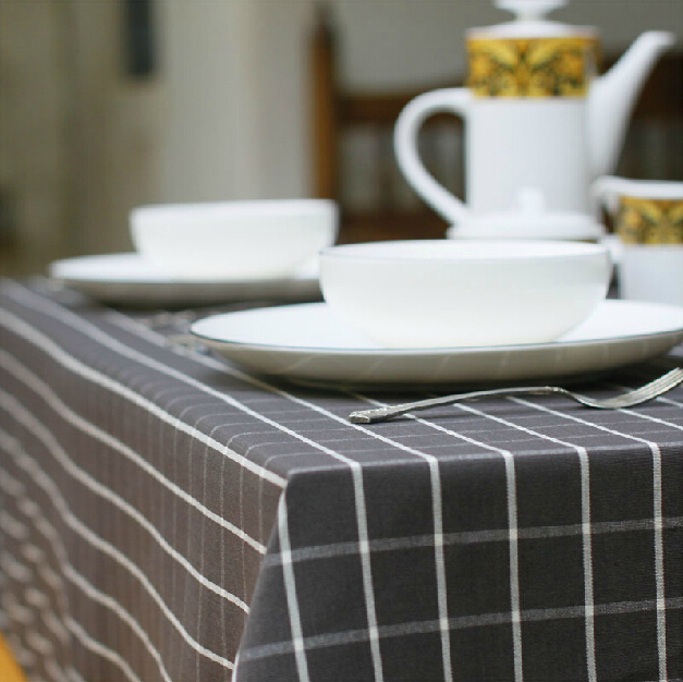 Free shipping High-grade Restaurant tablecloths Fabric Light gray black lattice European Simple modern Coffee table tablecloth(China (Mainland))
