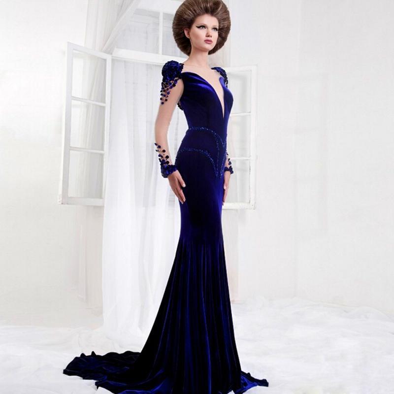 Popular Blue Velvet Evening Gown Buy Cheap Blue Velvet