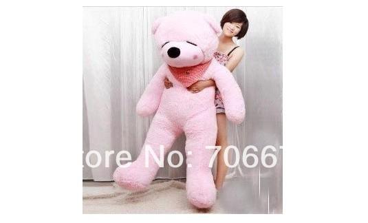 New stuffed pink squint-eyes teddy bear Plush 220 cm Doll 86 inch Toy gift wb8607(China (Mainland))