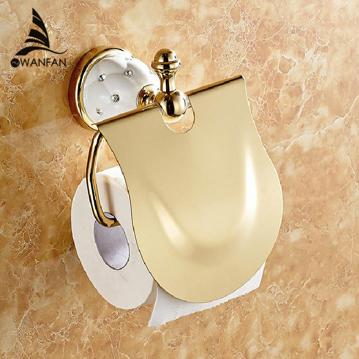 Free Shipping Gold Toilet Paper Holder With Diamond Roll Holder Tissue Holder