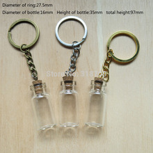 24/lot 3ml Small Glass Bottle with Key Chain, 3ml Glass Bottle Pendant(China (Mainland))
