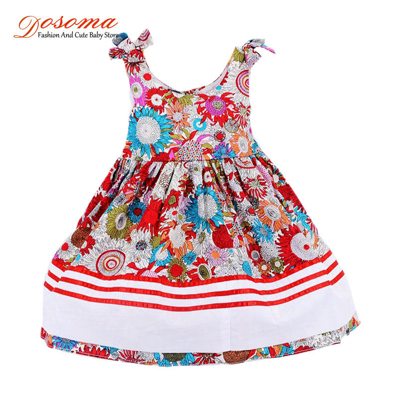 2016 Summer baby girls princess dress ethnic style print dress kids party floral soft dress children striped dress for girl 2-7Y<br><br>Aliexpress