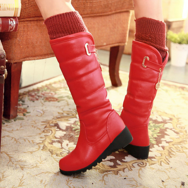 warm faux fur waterproof snow boots women winter fashion ladies high boots big size black brown red orange color dropshipping(China (Mainland))