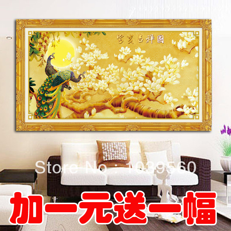 Гаджет  Figure Magnolia wealth and good fortune golden peacock diamond diy painting new stitch embroidery paste drill a square diamond d None Изготовление под заказ