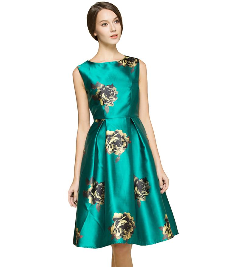 2016 Women Summer Dress Vintage Sleeveless Fashion Floral Printed A-line Vestido De Festa Female Clothing PRDRS145(China (Mainland))