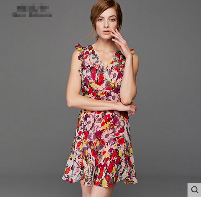 Free shipping Summer wear the new sleeve v-neck petals two-piece printed chiffon dress waist cultivate ones morality show thinОдежда и ак�е��уары<br><br><br>Aliexpress