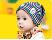 Free Shipping 2013 Hot Fashion Sets head cap/hat/cartoon children striped turtleneck children's cap  HA012(China (Mainland))