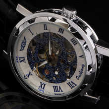 2015 winner fashion casual luxury male leather business skeleton mechanical men self wind military wrist watch