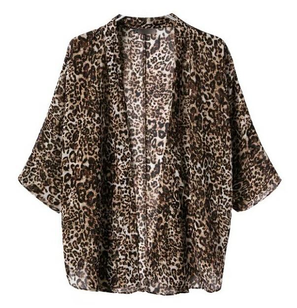 free shipping New Fashion Women Star Print Leopard Print Chiffon Blouse PLUS SIZE xl(China (Mainland))