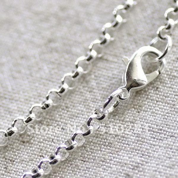 Free ship!!!Bulk 100piece 2mm 18'' Silver Plated (more color can pick up)lobster clasp rolo Necklace Chain Pendant chain(China (Mainland))