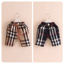 Retail,2015 Summer New Fashion England Style Children Pants Plaid Knee Length Kids Pants High Quality Boys Casual Pants (China (Mainland))