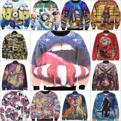 Alisister New arrival cute men women 3d sweatshirt mouth/cartoon/animal/Minions printed space spring female hoody free shipping(China (Mainland))