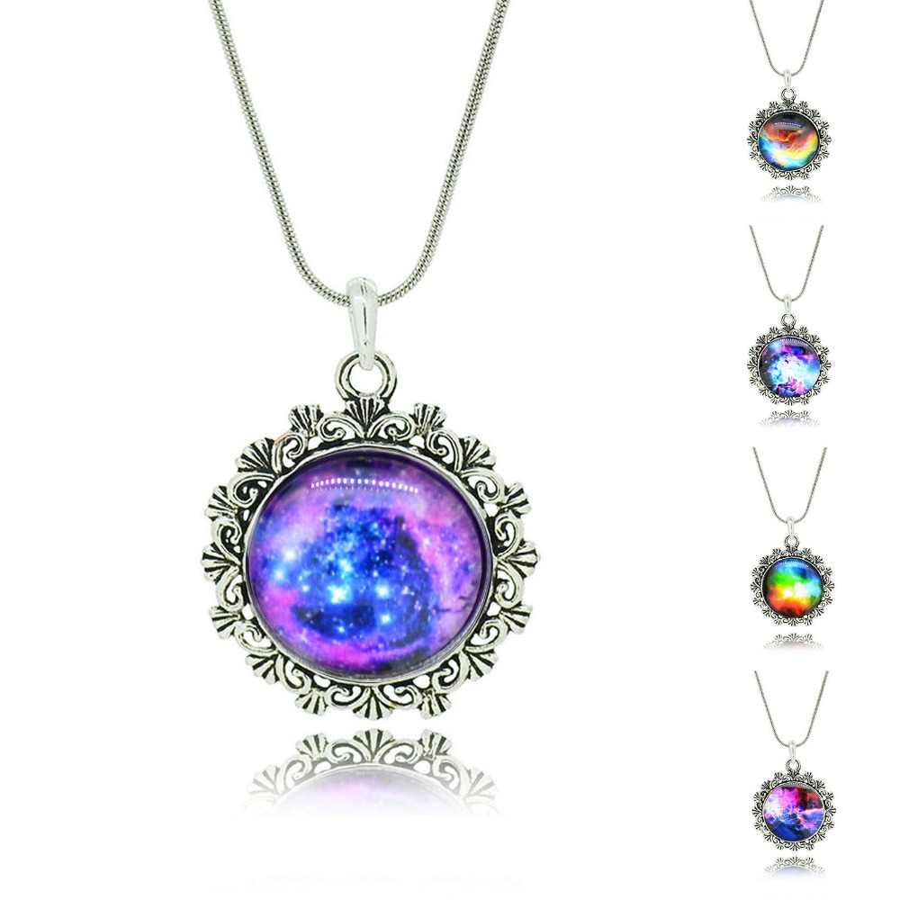No Mini order Best Mix Lovely Color galaxy, nebula, space, Antique silver Tone Alloy pendant necklace Friendship Couple Gift(China (Mainland))