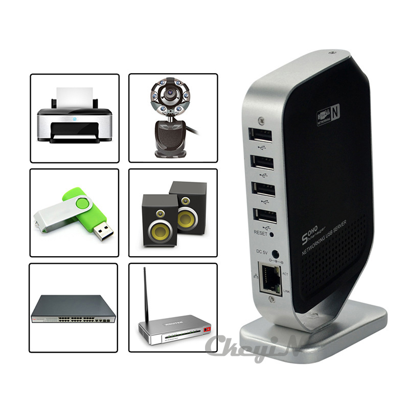NEW USB Print Server Networking 4 Ports USB 2.0 Printer Server UNS02H-H27(China (Mainland))