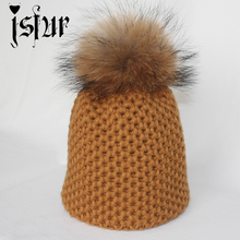Fall Head Warm Girls Fashion Skull Hat Knitted Woolen With Quality Fur Top Stylish Skullies Beanies Cap(China (Mainland))