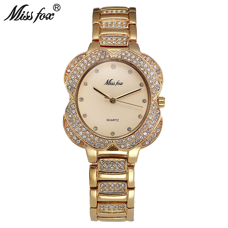 Miss Fox Flower Womens Watches Women Fashion Watch 2017 Golden Clock Charms Diamond Gold Quartz Watch Relogio Feminino Dourado(China (Mainland))