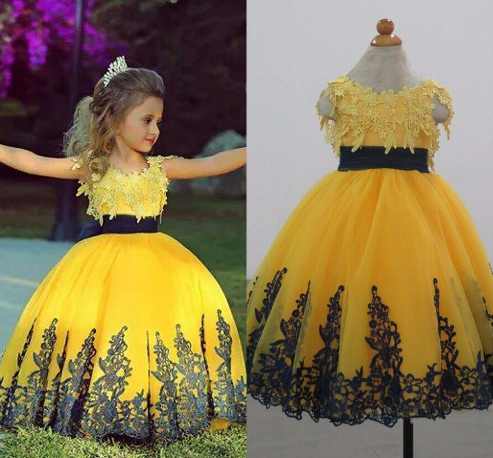 Yellow Flower Girls Dresses for Wedding 2015 Fall Custom Made Jewel Neck Appliqued Tulle Girl Party Dress with Sash(China (Mainland))