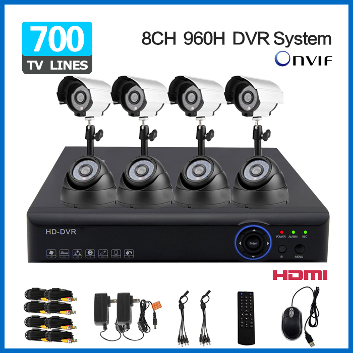 Free Shipping 8ch 960h 25fps realtime recording dvr nvr with IR Weatherproof CCTV home Security Camera dvr surveillance system(China (Mainland))