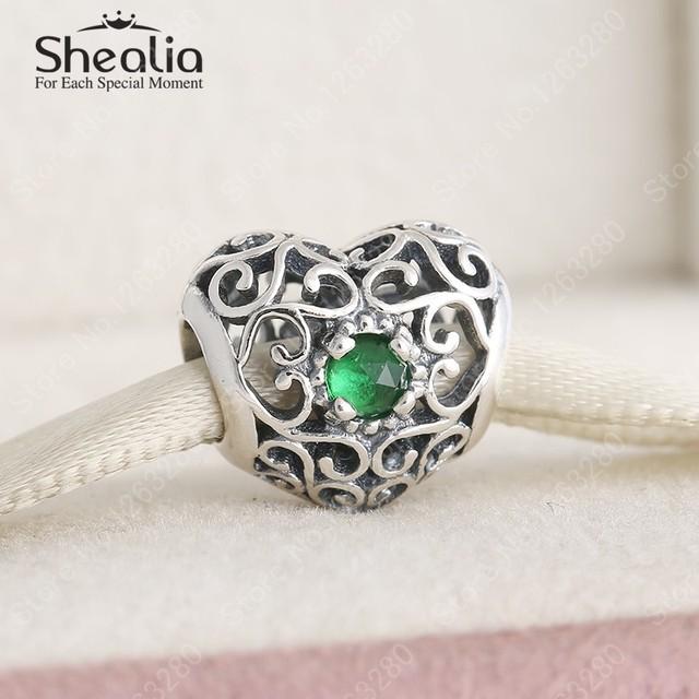 Мая камень королевский зеленый кристалл стерлингового серебра 925 ажурные в форме сердца подвески ювелирных украшений женщины Bracelets DIY аксессуары BD302