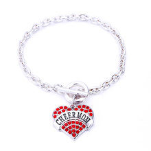 New Arrival 10pcs a lot fashion rhodium  plated cheer mom with Crystal Heart OT clasp  bracelet(China (Mainland))