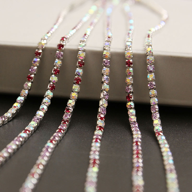 intensive style Glass rhinestone DIY silver Density Trim Strass colour mixture Crystal Cup Chains Dress Garment accessories 3245(China (Mainland))