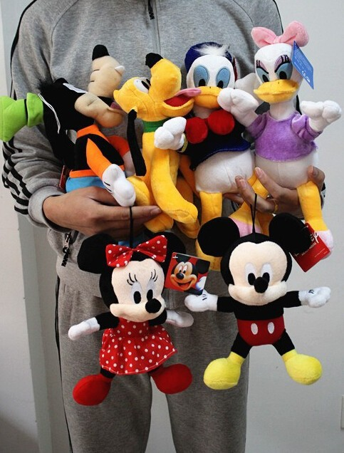 Free shipping 6pcs/set Mickey mouse,minnie mouse,Donald duck,Daisy,GOOFy dog,Pluto dog plush soft toys,mickey mouse plush(China (Mainland))