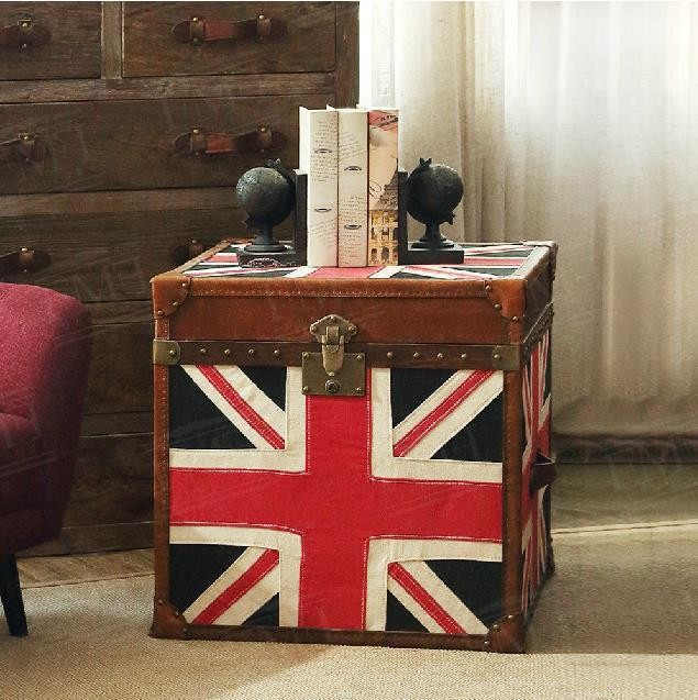 European /French rustic furniture/fabrics Union Jack flag console table/vintage leather end Table /side table /coffee table(China (Mainland))