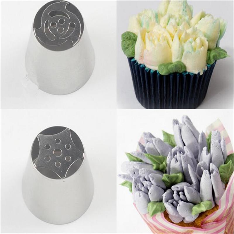 Cake Decorating Flat Icing : 10pcs Russian Tulip Nozzle For Cake Cupcake Decorating ...