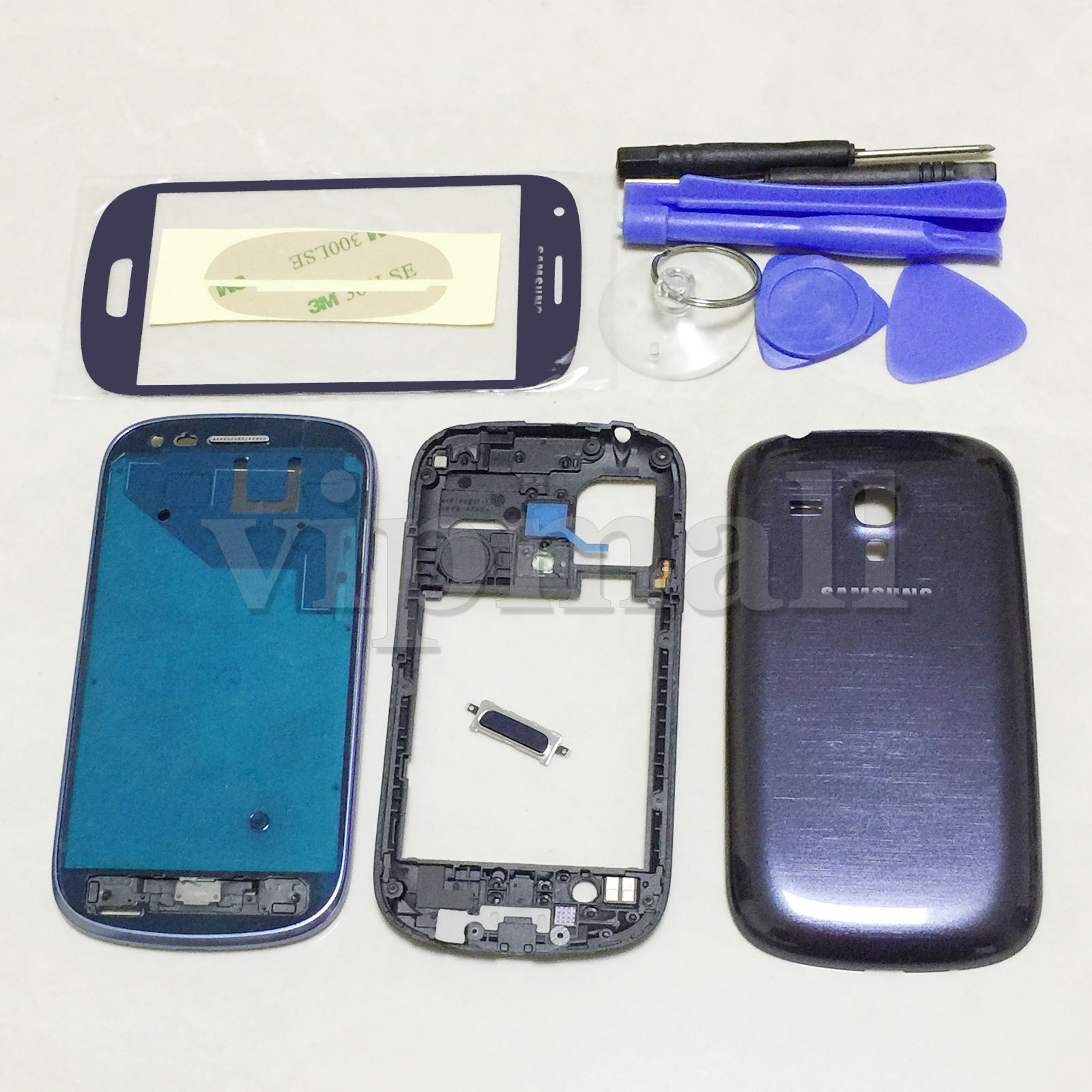 Blue Full Housing Case Screen Glass Cover Tool For Samsung Galaxy S3 mini I8190(China (Mainland))